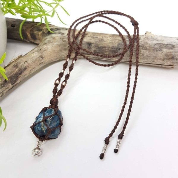 Apatite HTS bell Macrame Necklace